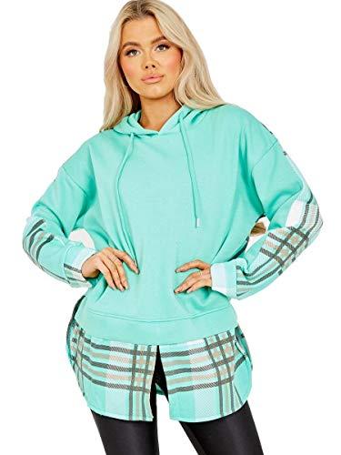 Sudadera con capucha para mujer a cuadros - verde - 36