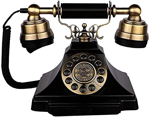 Teléfonos decorativos anticuados de la oficina de la oficina de la oficina de la oficina del hogar con teléfono fijo retro para el hogar, teléfono antiguo con cable con la tecnología clásica del botón