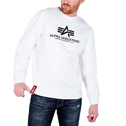 ALPHA INDUSTRIES Basic Sweater weiches Starkes Sweatshirt, Größe:XXL, Farbe:White