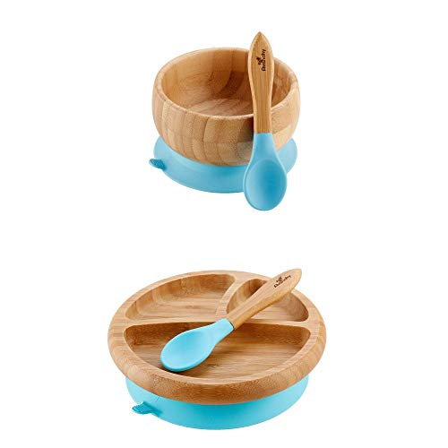 Avanchy Bamboo Divided Baby Plate & Bowl & 2 Spoons - Silicone Suction - Suction Plates and Bowls for Toddlers - 9 Months and Older (Blue)