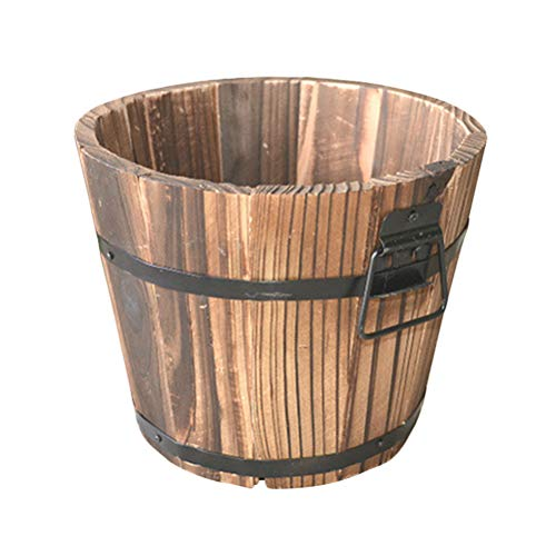 Yardwe 1PCS Wooden Whiskey Barrel Planter Round Wooden Garden Flower Pot Decor Plant Container Box Brown Medium (15 x 12 x 13cm)