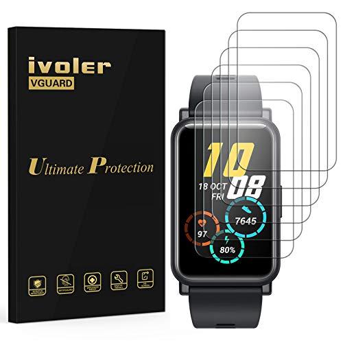 ivoler 6 Stück Schutzfolie Bildschirmschutzfolie für Huawei Watch Fit/Huawei Watch Fit Elegant/Honor Watch ES, 3D Vollständige Abdeckung [Wet Applied] [Anti-Kratz] [Blasenfrei] HD TPU Weich Folie