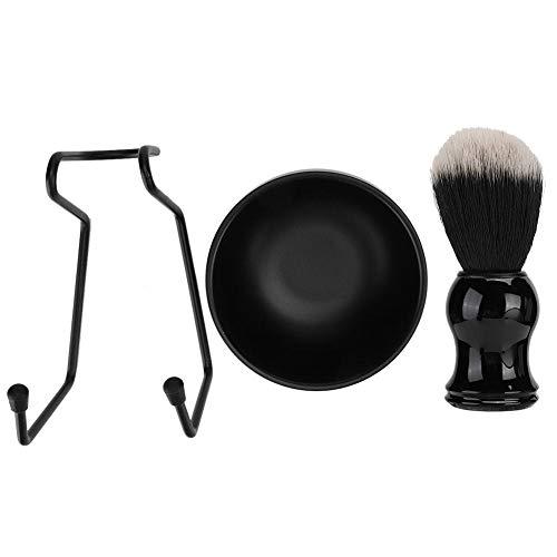 3pcs/set outil de rasage de barbe d'hommes, support de support + brosse à cheveux + bol de savon(#1)
