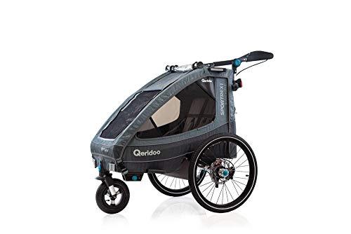 Remolque infantil Qeridoo Sportrex1 Limited Edition 2020, aguamarina, turquesa, con suspensión, adecuado para una bicicleta eléctrica infantil
