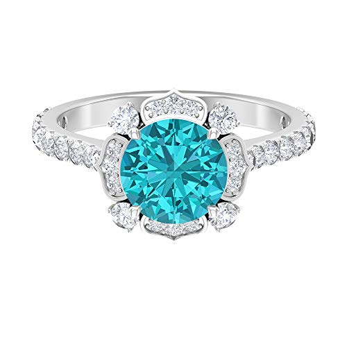 2.86 CT Solitaire Floral Ring, 8 MM Lab Created Green Paraiba Tourmaline Ring, D-VSSI Moissanite Cluster Halo Ring, 14K White Gold, Lab Created Green Paraiba Tourmaline, Size:UK M1/2
