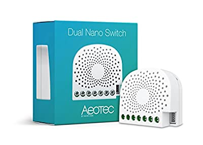 Aeotec Dual Nano Switch on/off controller Z-Wave Plus Smart Light Switch In-wall Compatible with Alexa