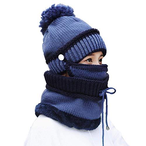 Iwinna Juego de 3 bufandas de invierno para mujer, gorro, bufanda, gorro, bufanda, cubrebocas, gorro cálido, gorro para niñas, bufanda para exteriores para mujeres y niñas