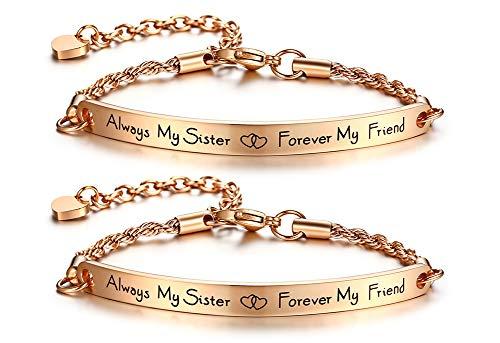 VNOX 2 STÜCKE Freundschaft Inspirierend Zitat Bar Armband Gravierte Rose Gold Überzogene Edelstahl Link ID Kette für Frauen Mädchen Länge Einstellbar