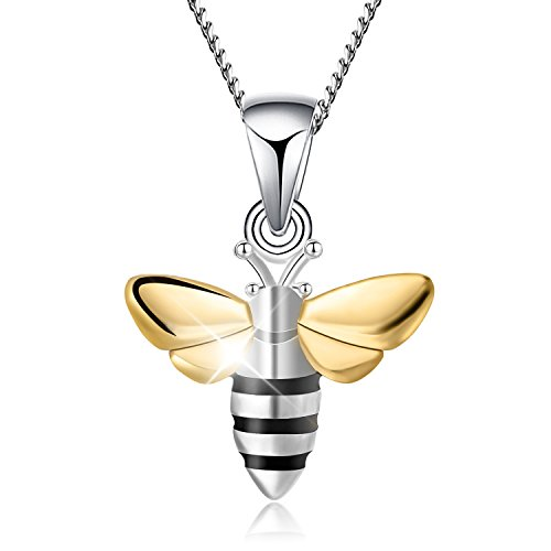 Lotus Fun S925 Sterling Silver Necklace Pendant Lovely Honeybee Pendant with Necklaces Link Chain length 17inches, Handmade Unique Jewelry Gift for Women and Girls