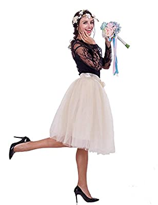 NOVAVOJO Women's High Waist Elastic Princess A Line Midi/Knee Length Tulle Skirt Bowknot Layered Tulle Party Skirt