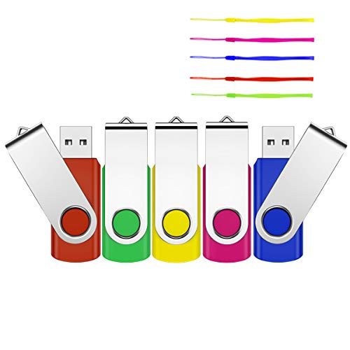 4GB USB Stick , USB 2.0 5 Stück Mini USB-Flash-Laufwerk USB Memory Stick Thumb Drive Pen Drive Speicherstick für School, Büro,Kinder und Home mit Kappe LED Anzeige Schlüsselband (Multicolor)