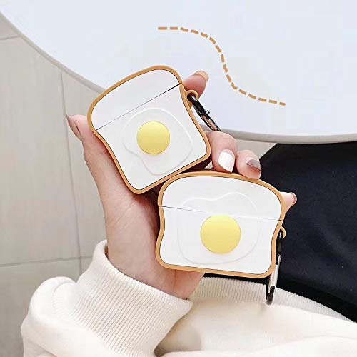 for Airpods Case, Bread Egg Toast Cute 3D Cartoon Airpods 1&2 Gen Cover Hooks Rechargeable Earphone Headphone case, Shockproof, Anti-Fall and Dustproof Protective for Teens Girls Boys (Egg Toast)