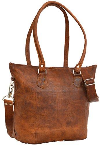 Gusti Handtasche Leder - Umhängetasche Therese Shopper groß Braun