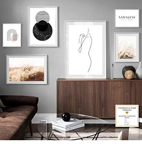 ELAFI® Premium Poster 6er Set groß | Stilvolle Dekoration mit passendem Bilder Set als Wohnzimmer Deko | 3X DIN A3 und 3X DIN A4 Poster für Schlafzimmer