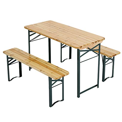 Warmiehomy Folding Wooden Beer Table and Bench Set Portable Picnic Trestle BBQ Table Chairs Set with Metal Legs for Garden Courtyard Party Outdoor, 117L x56W x 76.5Hcm