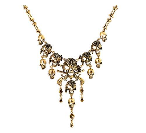 DELEY Vintage Legierung Pirat Totenkopf Skelett Quaste Kragen Lätzchen Gothic Anweisung Halskette Gold