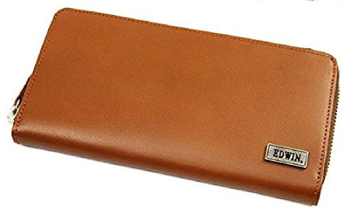 (エドウィン) EDWIN ブランド メンズ 財布 長財布 イタリアンレザー ラウンドファスナータイプ キャメル しっかりしたレザーにおしゃれでシンプルなメタルロゴ プレゼントに最適(The Little)