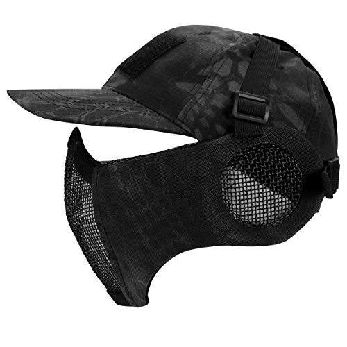Airsoft Half Face Mesh Mask and Cap Set, Airsoft Mesh Mask with Ear Protection and Baseball Cap Tactical Lower Face Protective Mask for CS/Hunting/Paintball/Shooting