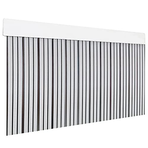 HOME MERCURY – Cortina plana para puerta exterior o interior, material PVC – libre de insectos (210x90CM, Transparente+Filo Negro P4)