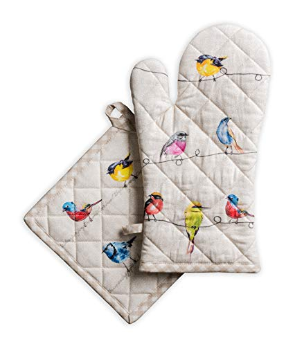 Maison d' Hermine Birdies on Wire 100% Cotton Set of Oven Mitt (7.5 Inch by 13 Inch) and Pot Holder (8 Inch by 8 Inch) for BBQ | Cooking | Baking | Grilling | Microwave | Barbecue | Spring/Summer