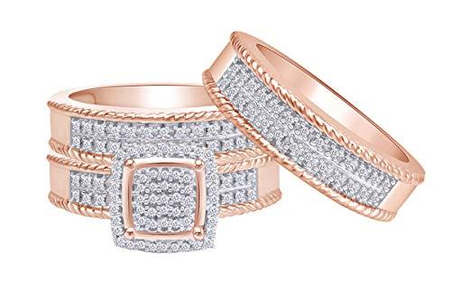 Jewel Zone US White Natural Diamond Engagement & Wedding Trio Bridal Ring Set in 10k Solid Rose Gold (0.33 Carat)