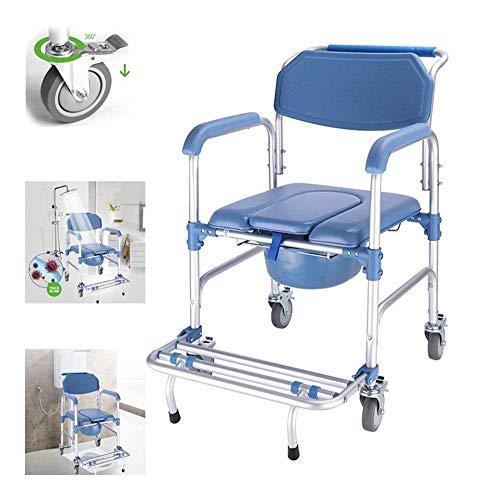 Silla de ruedas plegable portátil asiento / WC 4-en-1-inodoro con ruedas / asiento de ducha / silla con frenos de las ruedas de transporte for las mujeres embarazadas for minusválidos personas mayores