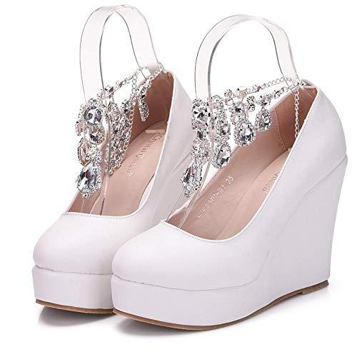 N / A Zapatos de boda con cadena de diamantes de imitación, zapatos de cuña con plataforma de punta redonda, color blanco