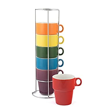 Gypsy Color Ceramic Coffee Mug Set of 6 Large (12 oz.) Stackable Cappuccino Cups with Chrome Stand, Mulicolor Rainbow Flag Colors