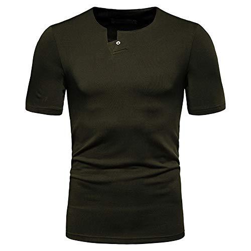 Manga Corta Hombre Verano Moda Ajustado Hombre Compresión Shirt Color Sólido Funcional Shirt Básica Estiramiento Correr Shirt Informal Navegar Secado Rápido Deportiva Camisa B-Army Green XXL