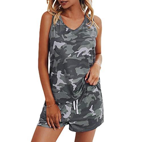 EEOO Womens Leopard Print Khaki Leopard Print, Gray Camouflage, Green Camouflage Pajamas Set Casual Sleepwear Nightwear