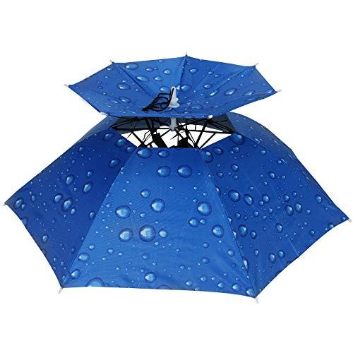 WYMGFD Sombrilla sombrero 77cm azul plegable doble paraguas sombrero sombrero sombrero gorra lluvia sol camping pesca gorras protector solar sombra paraguas Sombreros
