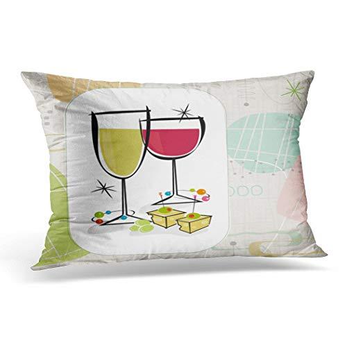 Awowee Funda de cojín de 45 x 45 cm, estilo retro gourmet vino y queso, cada artículo está agrupado por lo que puedes utilizarlos como decoración del hogar, funda de cojín para sofá o silla, poliéster, Morado, 12'x 20'