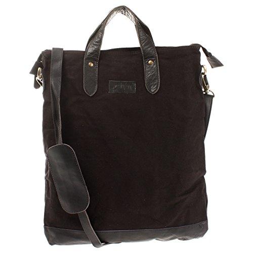 LECONI Shopper Leder + Canvas Vintage-Look Umhängetasche für Damen Henkeltasche große Beuteltasche DIN A4 Damentasche Handtasche 39x45x10cm schwarz LE0037-C