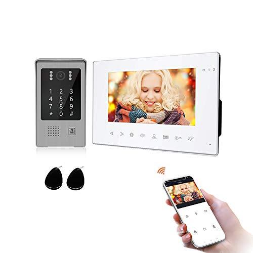 JeaTone 7 Inch Videoportero Wifi 4 Hilos (7 Inch Videoportero, Pantalla táctil blanca de 7 pulgadas + cámara HD 960P)