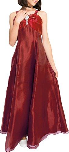 [アリサナ]arisana ドレス 子供 発表会 結婚式 女の子 ロングドレス ジュニア ピアノ こども 子供ドレス ピアノ発表会 (ドレス+ブローチの2点セット) ボルドー 130cm