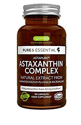 Pure Essentials Natural Astaxanthin Complex, 4mg astaxanthin from 42 mg AstaPure, with lutein & zeaxanthin, 90 capsules by Igennus Healthcare Nutrition