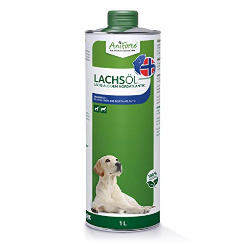 AniForte Lachsöl für Hunde 1 Liter - Kaltgepresst mit Omega 3 und Omega 6 Fettsäuren, Premium Fischöl für Welpen, Adult, Senior, Ohne Zusätze, Barf Ergänzung, Recyclebare Verpackung ohne BPA
