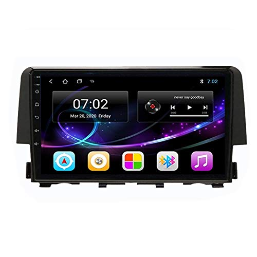 MGYQ Car Multimedia Player HD Car MP5 Player with 9'' HD Touchscreen, Rear View Camera, Sat Navigation, Support USB, AUX, BT, FM Radio 1080P Video, for Honda Civic 2016-2020,Quad core,WIFI 1+16