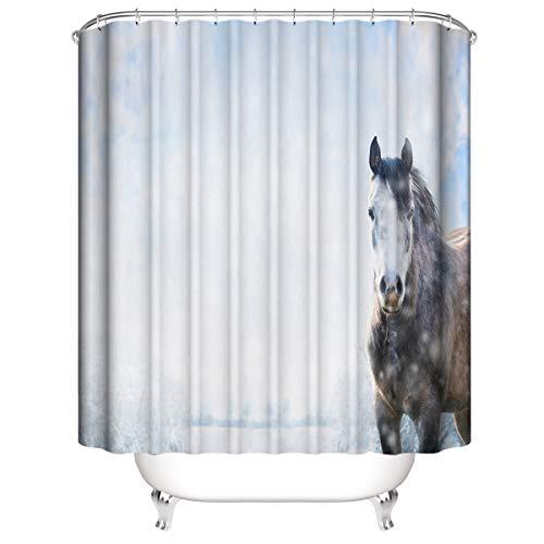 LLLTONG Wasserdichter Duschvorhang aus Polyestergewebe, Mehltau & antibakterielles 3D-Digitaldruckmuster Pferd im Schnee
