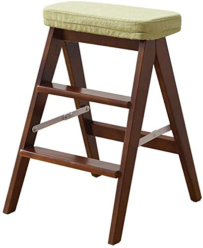 BATOWE Folding Portable Stepladder Stool with Green Sponge Cushion,Multipurpose Small Wood Ladder Chair Creative Home Kitchen Step Ladder Max Load 150kg (Color : Brown)