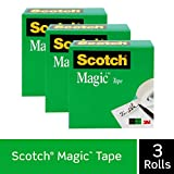 Scotch Magic Tape, 3 Rolls, Invisible, Engineered for Office and Home Use, 1 x 2592 Inches, Boxed (810-72-3PK)