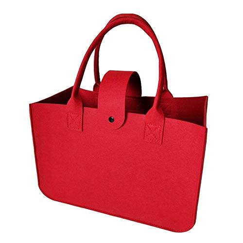 Bolsas de fieltro rojo multifuncionales para la compra diaria, para ir de compras, para el trabajo, viajes (14,96 x 9,84 x 7,09 pulgadas)