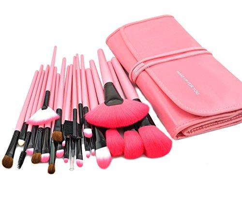 KanCai 24 PCS pinceles de maquillaje profesional de mango de madera sintética cosméticos kit de pinceles y brochas de maquillaje con estuche de piel