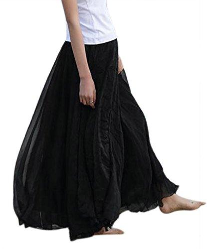 FEOYA Mujer Maxi Larga Falda Bohemia Dobladillo Grande Chifón Skirt