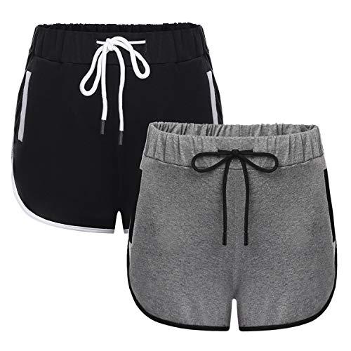 Akalnny Pantalon Corto Deportivo Mujer Verano Algodón Cintura Elástica Ajustable Pantalones Chandal Cortos Gimnasio Correr Deporte