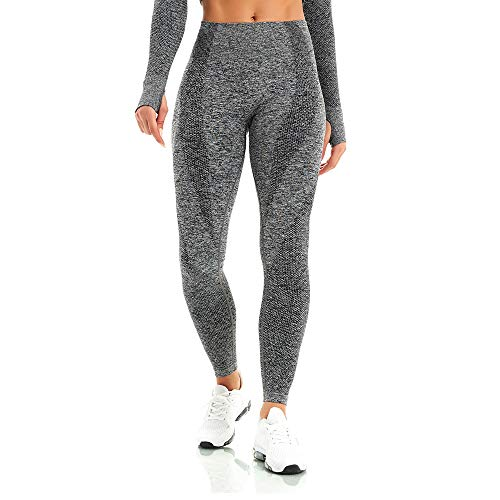 WodoWei Women's High Waisted Workout Leggings Seamless Gym Yoga Pants (W518-grey-L)