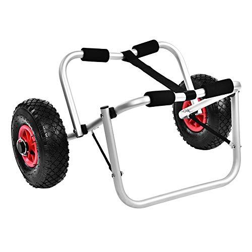 Cikonielf Carico Massimo per Carrello Trasporto Kayak Carrello Pieghevole in Alluminio da 80 kg per Trasporto Canoa o Kayak