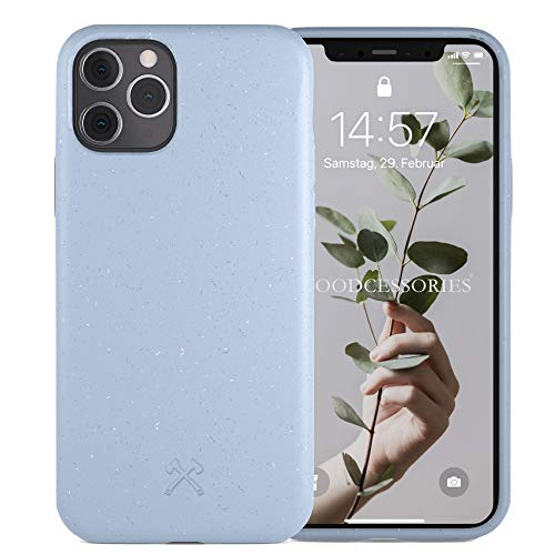 Woodcessories - Antibakterielle Bio Hülle kompatibel mit iPhone 11 Pro Hülle hellblau - Plastikfrei, nachhaltig