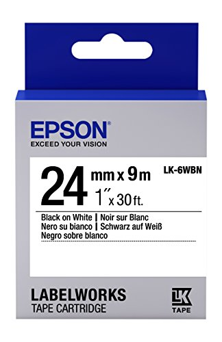 "Epson LabelWorks Standard LK (Replaces LC) Tape Cartridge ~1"" Black on White (LK-6WBN) - for use with LabelWork LW-600P and LW-700 Label Printers"