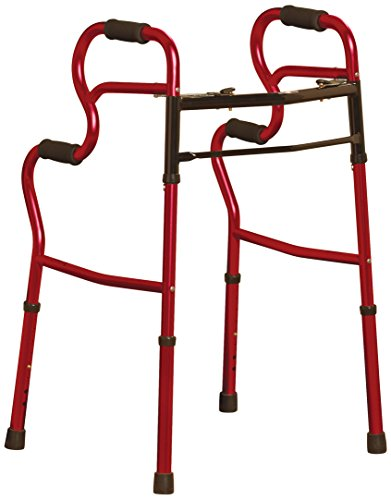 Medline 3-in-1 Two-Button Walker, Red